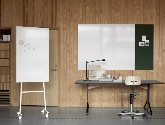 Lintex ONE Mobile Whiteboard in White Frame Colour Finish with Air Textile Writing Board and Straight Desk and Offce Chair