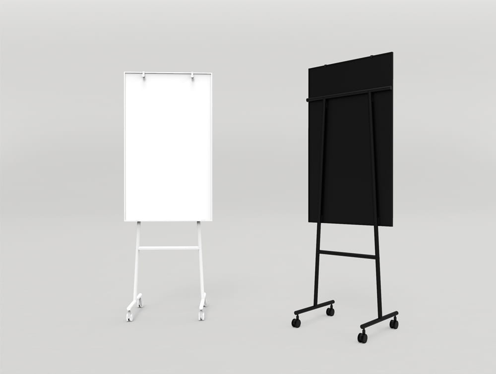 Lintex ONE Mobile Whiteboard with Adjustable Flip Chart Hooks and Castors Wheels in White or Black