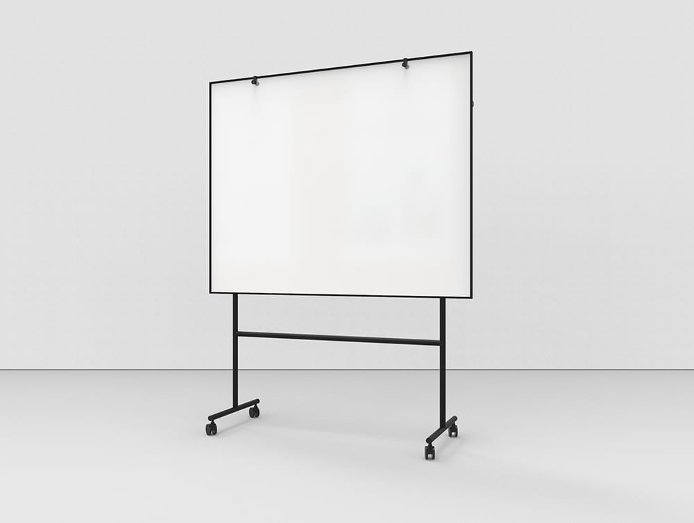 Lintex ONE Mobile Whiteboard with Large Magnetic Writing Surface and Adjustable Flip Chart Hooks in Black