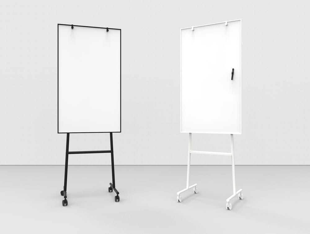 Lintex ONE Mobile Whiteboard with Magnetic Ceramic Steel Wrting Surface and Adjustable Flip Chart Hooks