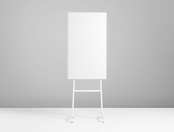 Lintex ONE Mobile Whiteboard with Magnetic Writing Surface and Adjustable Flip Chart Hooks in White