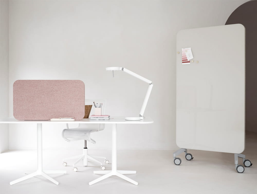 Lintex Small Mood Fabric Mobile Glass Writing Board in Beige Finish wih Mesh Chair Straight Desk and Acoustic Screen Partition in Pink