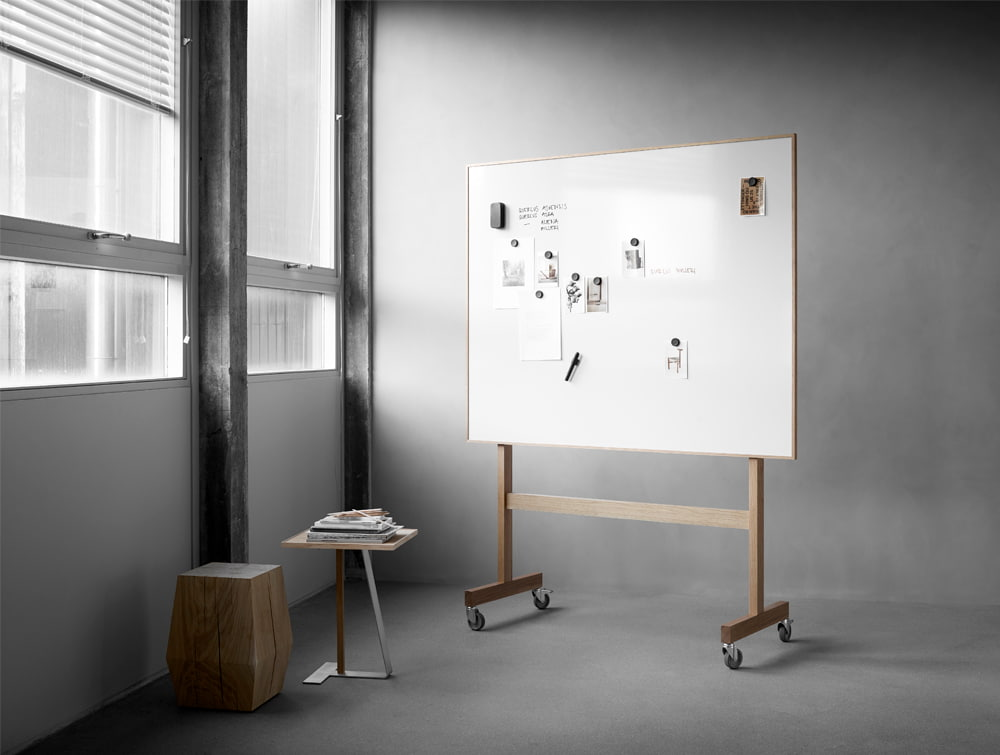 Lintex Wooden Freestanding Whiteboard for Office Meeting Rooms with Megnetic Ceramic Steel Writing Surface