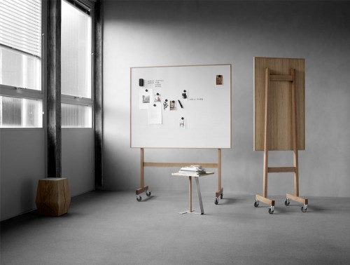 Lintex Wooden Mobile Whiteboard with Oak Veneered Backside and Magnetic Surface