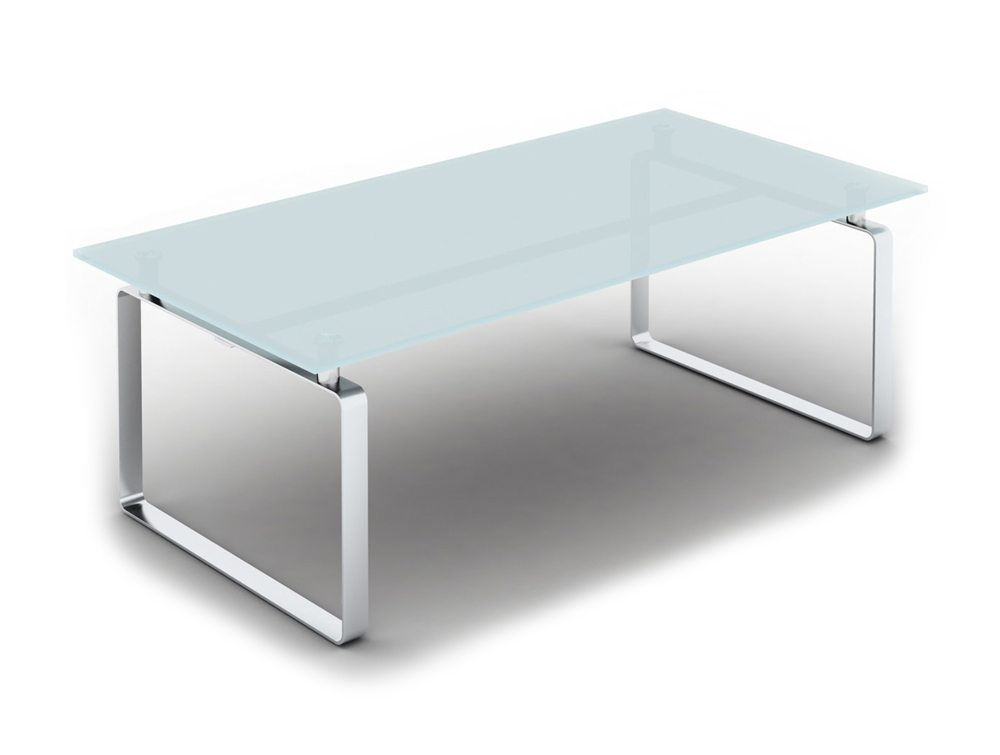 Loop Rectangular Glass Coffee Table with Closed Chrome Frame