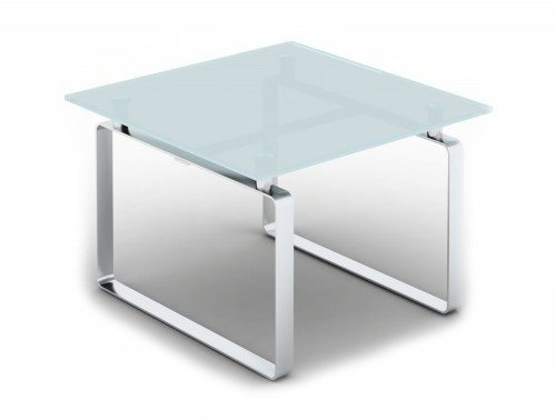 Loop Square Coffee Table with Closed Chrome Frame in Glass