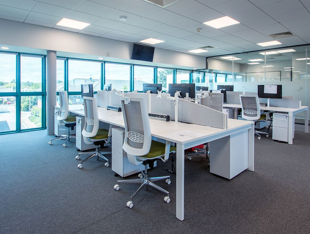 White chairs ad desks in office