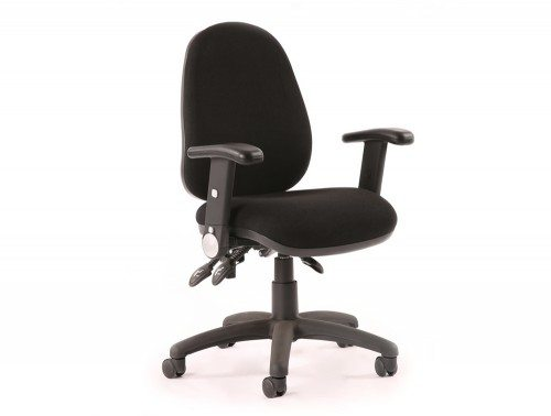 Luna Iii Lever Task Operator Chair Black With Height Adjustable And Folding Arms Featured Image