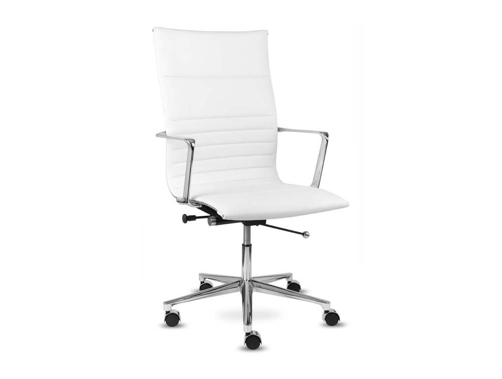 Aquila executive ribbed white leather swivel armchair high back