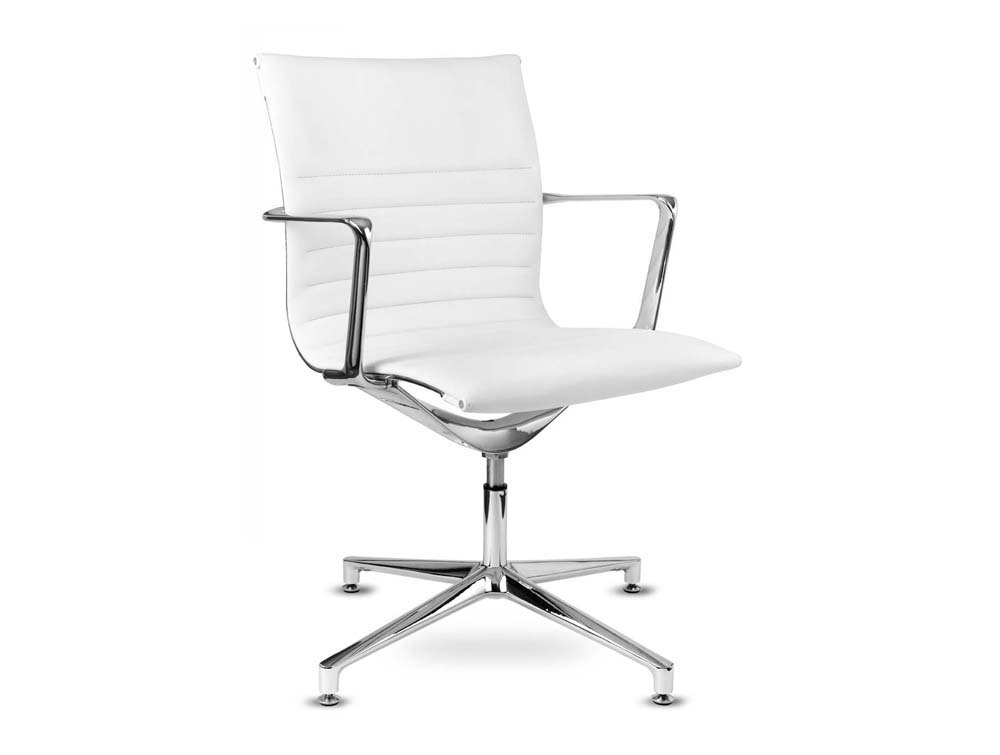 Aquila conference ribbed swivel armchair low back leather white