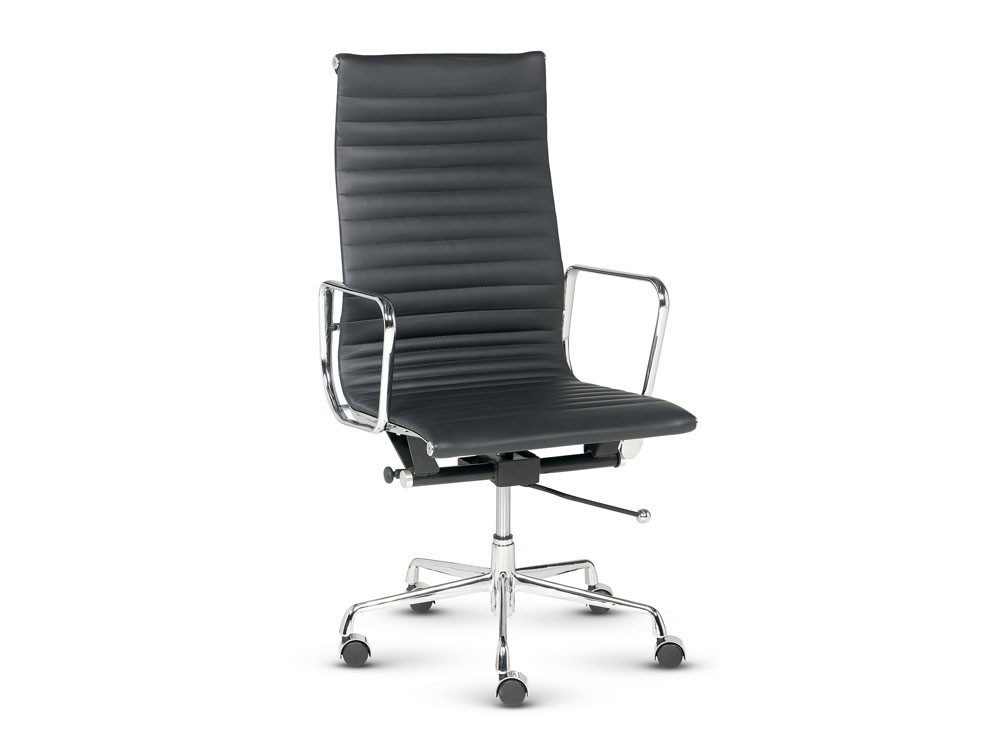 Libra executive ribbed swivel armchair in black leather high back