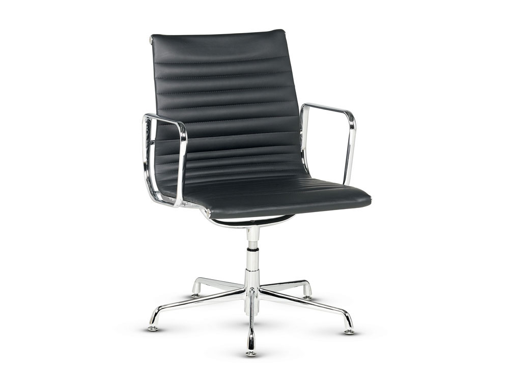 Libra Low Back Executive Ribbed Swivel Armchair in Black Leather