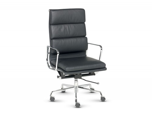 Libra executive soft padded black leather swivel armchair in high back