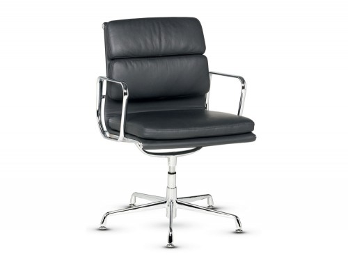 Libra executive soft padded black leather swivel armchair in low back