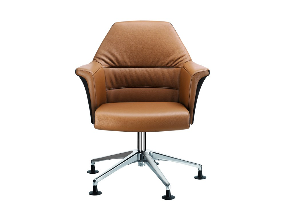 Stelvio low back brown leather meeting room armchair