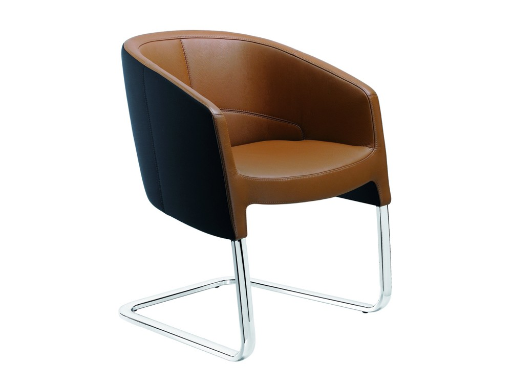 Stelvio cantilever visitors armchair in brown leather