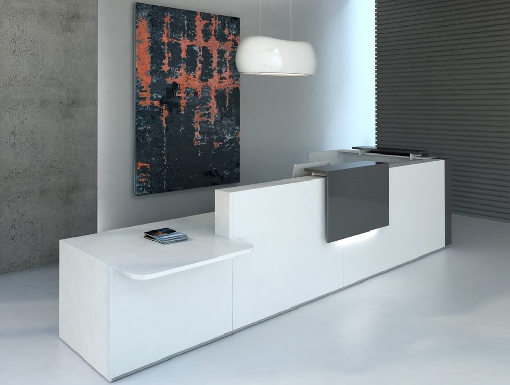 MDD Reception Counter Unit White with LEDs
