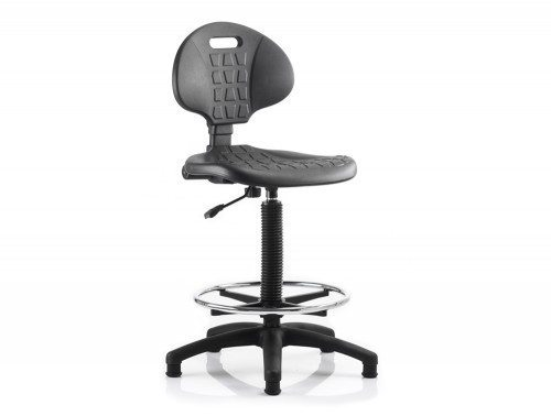 Malaga Draughtsman Task Operator Chair Black Polyurethane Seat And Back Without Arms Featured Image
