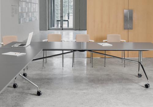 Mara Argo Libro Folding Rectangular Table in Meeting Room with Castors Wheels