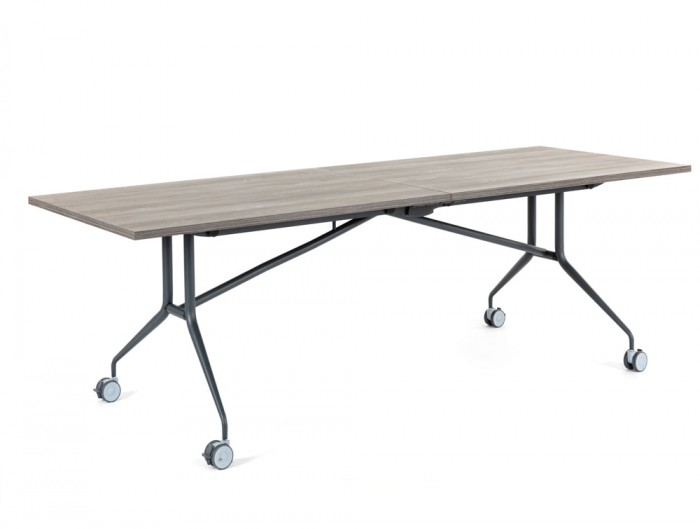 Mara Argo Libro Folding Rectangular Table with Castors Black Frame and Natural Oak Tabletop