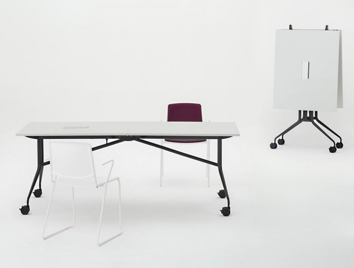 Mara Argo Libro Folding Rectangular Table with Castors Wheels White Tabletop and Black Frame with Chairs