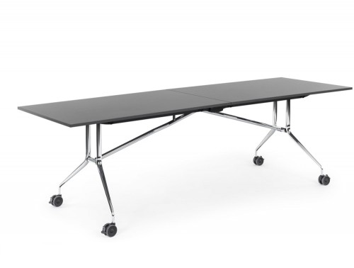 Mara Argo Libro Folding Rectangular Table with Castors with Chrome frame and Black Tabletop