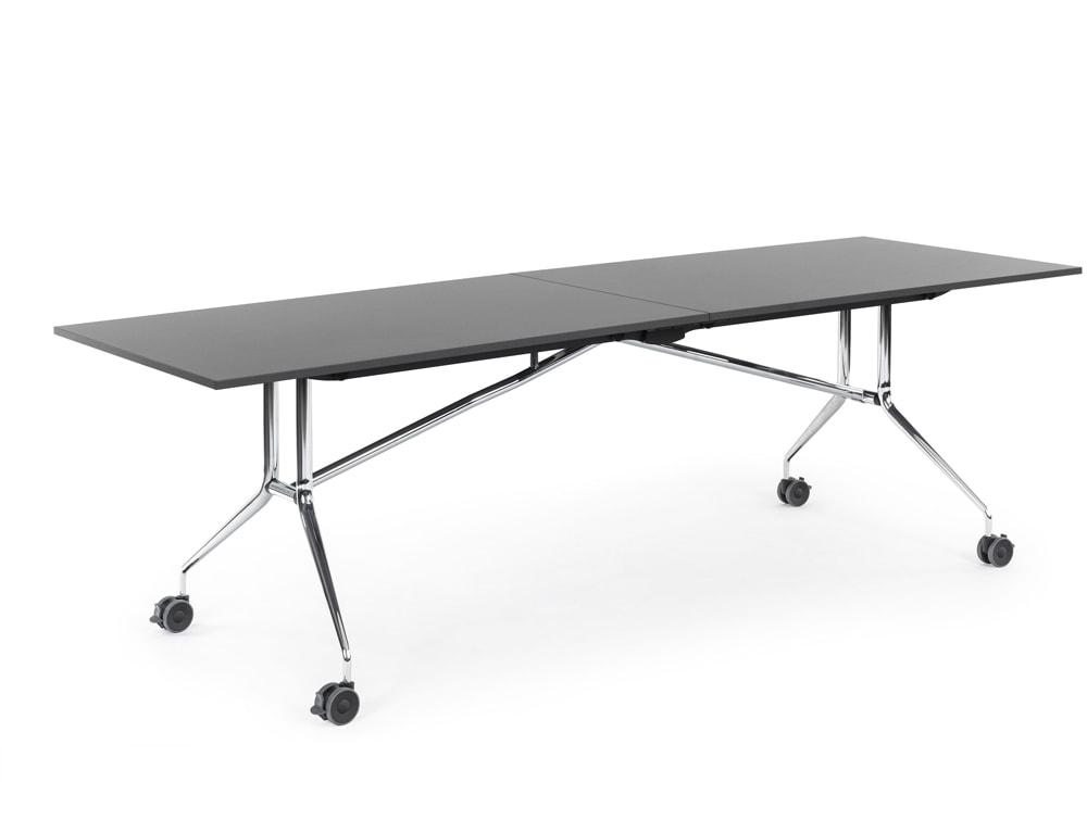 Mara Argo Libro Folding Rectangular Table with Castors with Chrome frame and Black Tabletop