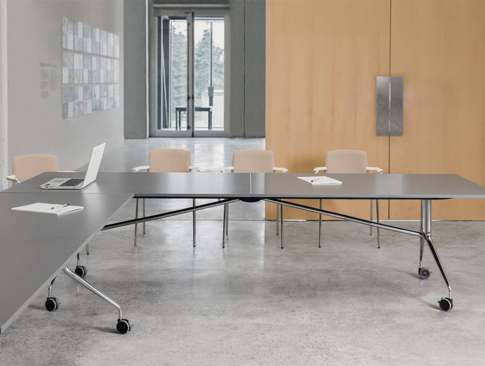 Mara Argo Libro Folding Rectangular Table with Metal or Nylon Kit Connection for Meeting Room