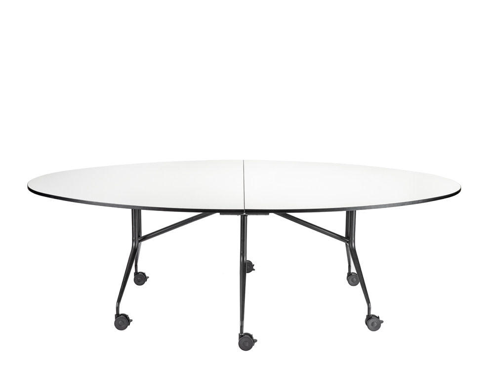 Mara Argo Libro T Circular Folding Table with Castors in White Tabletop and Black Frame