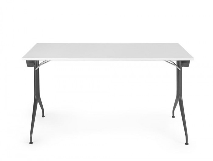 Mara Argo Rectangular Folding Legs Workstation Desk Anthracite Frame and White Tabletop
