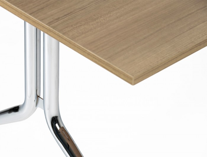 Mara Argo Tilting Rectangular Meeting and Boardroom Table Chrome Frame Legs and Beech Tabletop