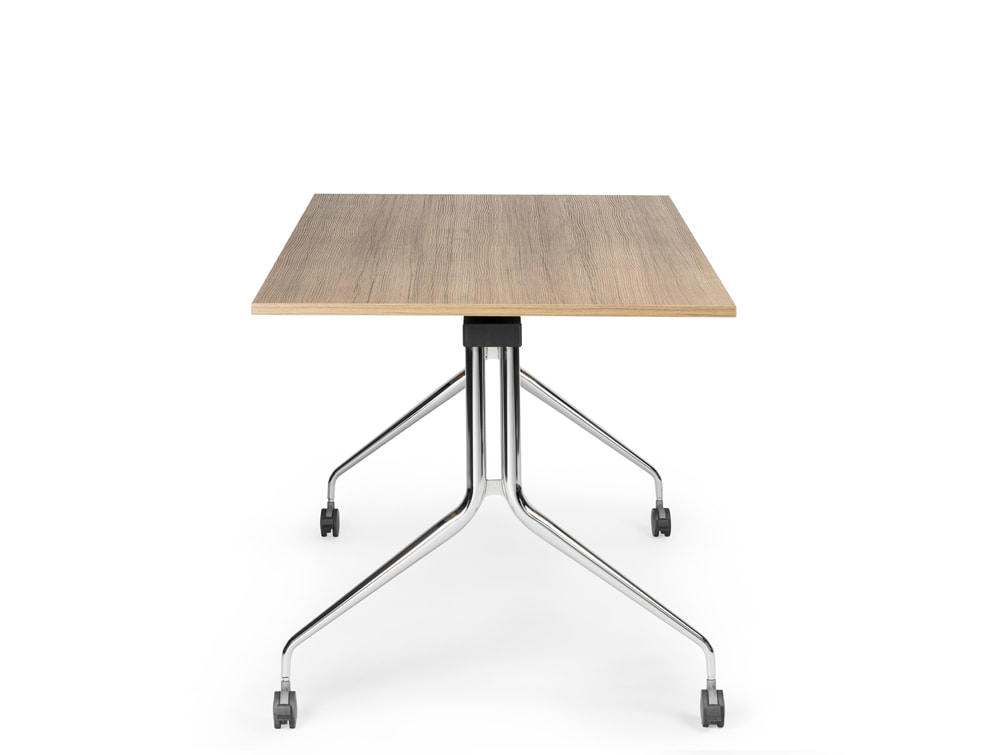 Mara Argo Tilting Rectangular Meeting and Boardroom Table with Castors Beech Table and Chrome Frame