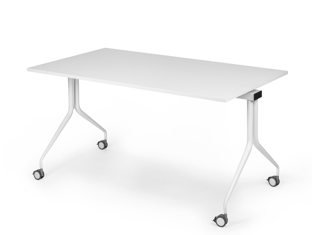 Mara Argo Tilting Rectangular Meeting and Boardroom Table with Wheels in Fully White Finish
