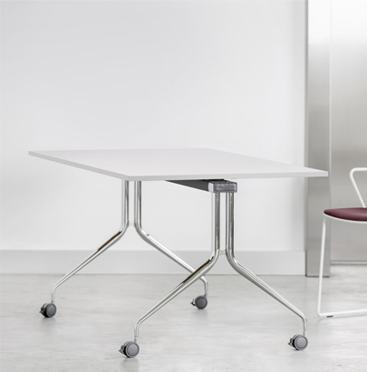 Mara Argo Tilting Rectangular Table White Top and Chrome Frame with Burgundy Chair