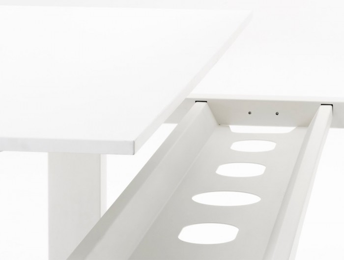 Mara Follow Cable Tray on Office Bench Height Adjustable Desks