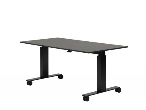 Mara Follow Folding Height Adjustable Office Desk with Castors in Black
