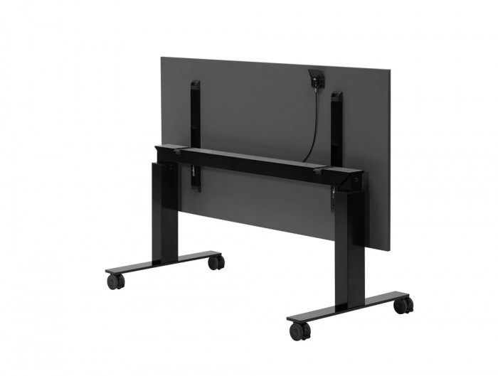 Mara Follow Folding Height Adjustable Office Desk with Wheels in Black
