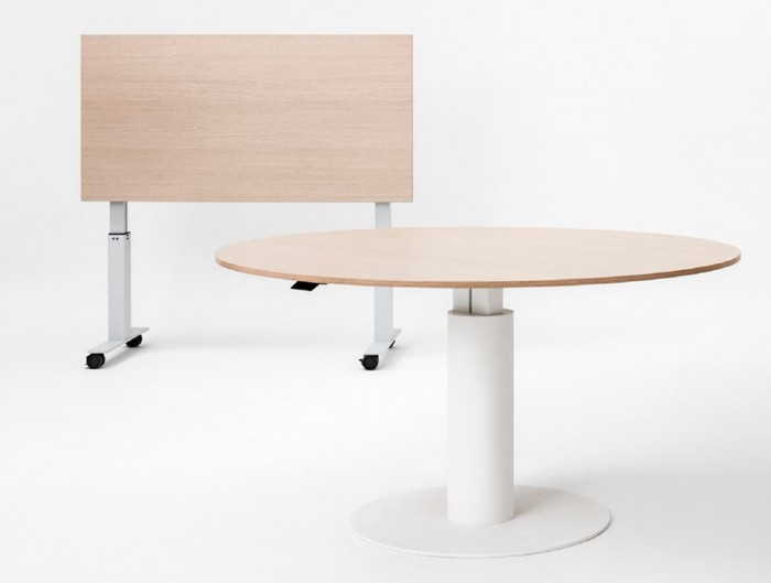 Mara Follow Folding Office Desk and Round Meeting Table Height Adjustable in White Frame and Beech Tabletop