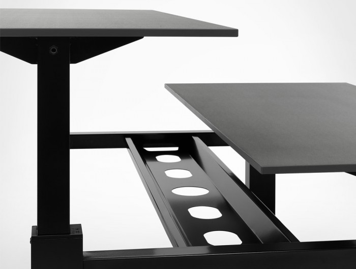 Mara Follow Height Aadjustable Office Bench Desk with Cable Tray in Black Frame and Tabletop