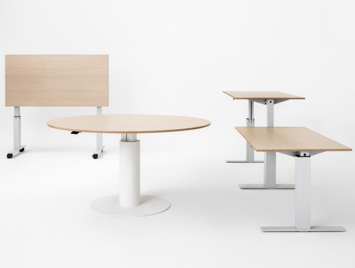 Mara Follow Height Adjustabe Office Desk and Round Meeting Table with White Frame and Beech Table Top