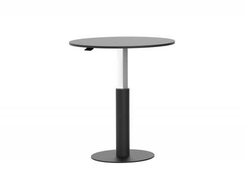 Mara Follow Height Adjustable 600 Round Meeting Table in Black