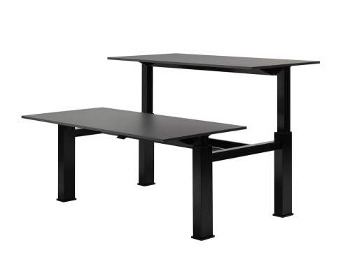 Mara Follow Height Adjustable Low or High Office Bench Desks in Black Finish