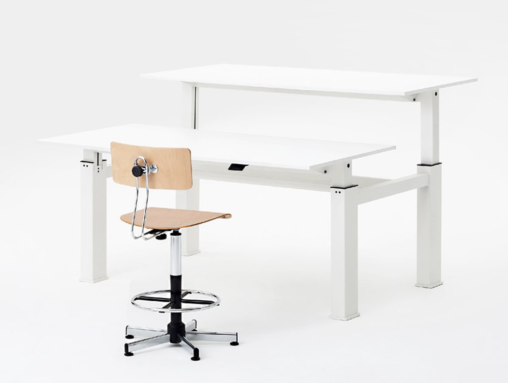 Mara Follow Height Adjustable Office Bench Desks with Cable Management and Task Operator Chair