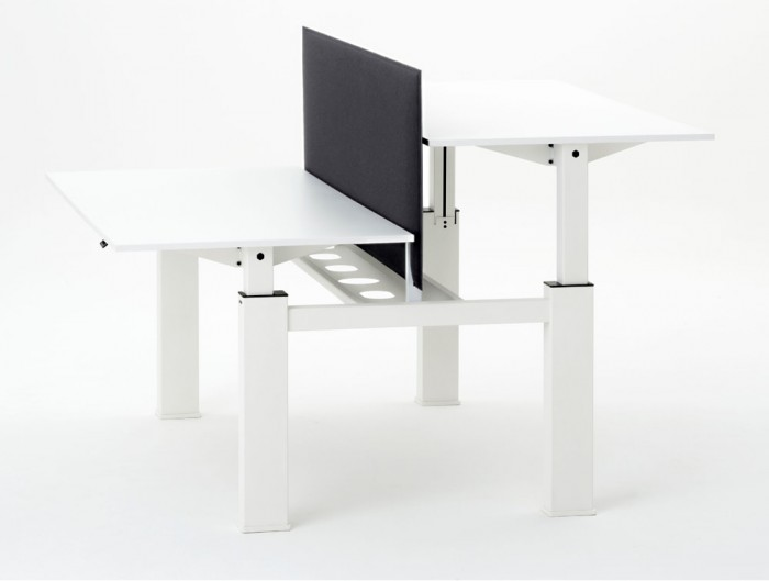 Mara Follow Height Adjustable Office Bench in White with Black Acoustic Partition