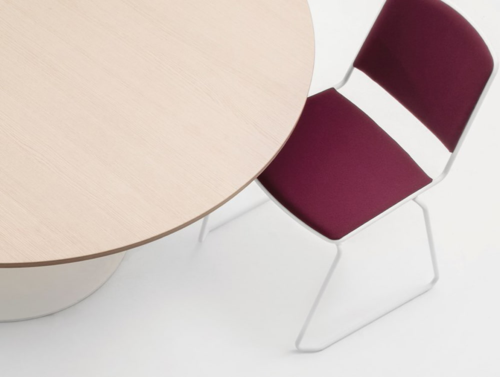 Mara Follow Height Adjustable Round Meeting Table Beech Tabletop with Burgundy Chair