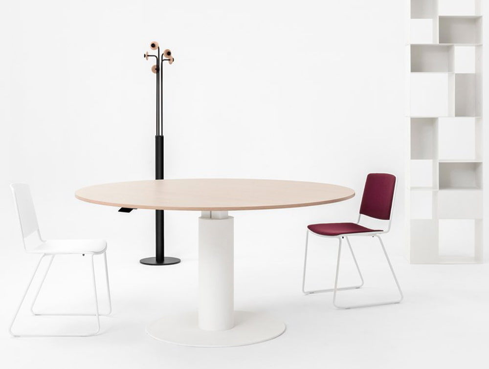 Mara Follow Height Adjustable Round Meeting Table White Frame and Beech Table with Meeting Room Chairs