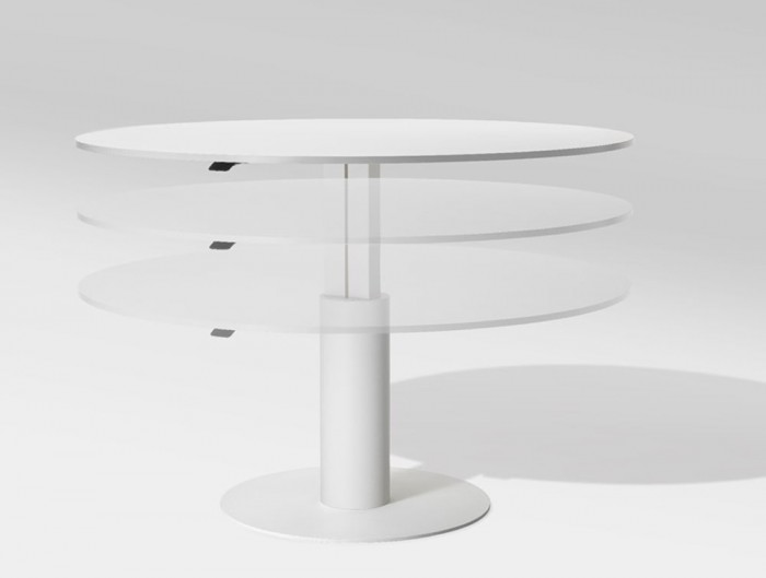 Mara Follow Height Adjustable Round Meeting Table in White