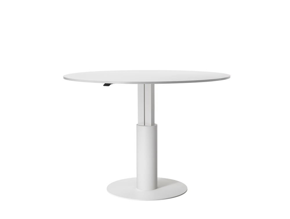 Mara Follow High Height Adjustable Round Meeting Table in White