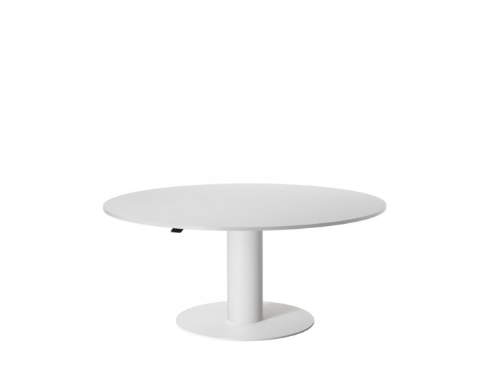 Mara Follow Low Height Adjustable Round Meeting Table in White