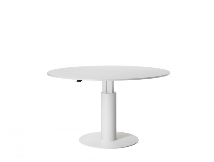 Mara Follow Medium Height Adjustable Round Meeting Table in White